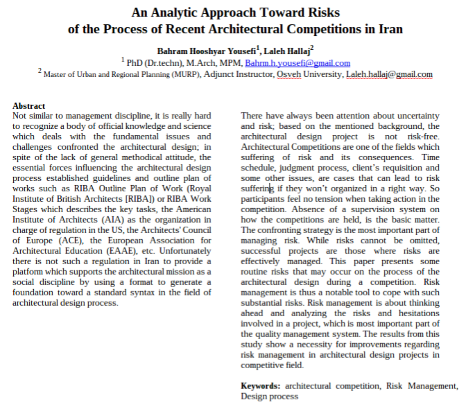 An Analytic Approach Toward Risks of the Process of Recent Architectural Competitions in Iran
